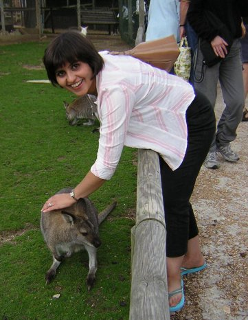 Ladan with a wallaby on the Isle of Wight